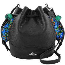 COACH 馬車皮革壓紋斜背水桶包-黑色(特賣)