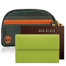 GUCCI 青綠色真皮壓紋壓釦中夾+Timberland 綠色帆布化妝包/手抓包-大型(特賣)