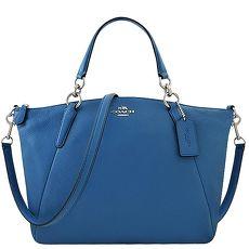 COACH 馬車皮革壓紋波士頓包-藍色(特賣)