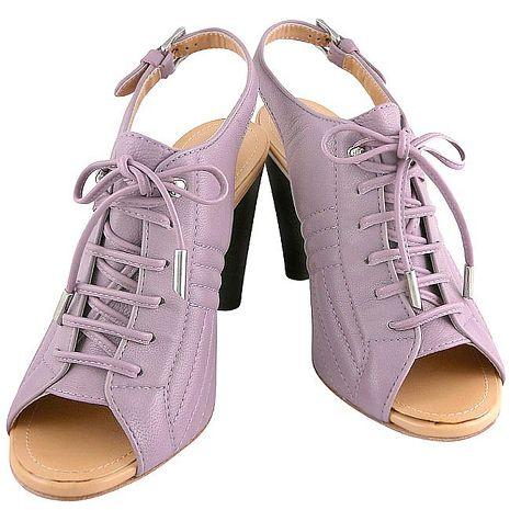 TODS 真皮繫帶靴型高跟涼鞋/粉紫色-39號(特賣)