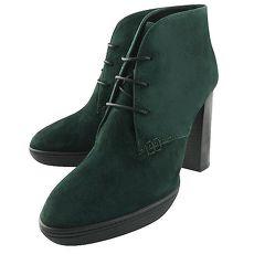 TODS 麂皮綁帶高跟短靴/湖水綠色-38號