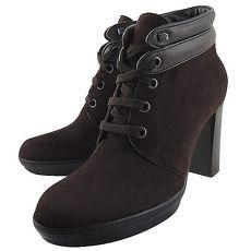TODS 麂皮綁帶高跟短靴/咖啡色-36號(特賣)