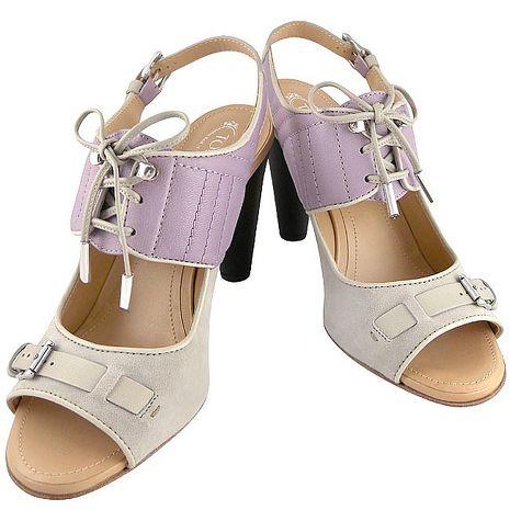 TODS 真皮鏤空靴型高跟涼鞋/紫色-39號(特賣)