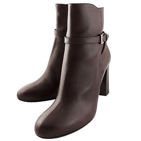 TODS 真皮高跟短靴/咖啡色-36.5號(特賣)