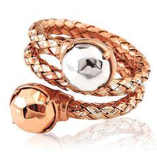 MONT BLANC 萬寶龍 編織雙圈造型純銀戒指-玫瑰金色(52號)
