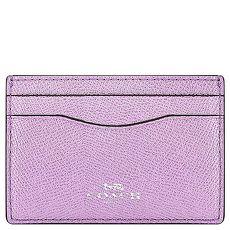 COACH 金屬光澤防刮皮革證件名片夾(淺紫色)