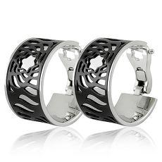 MONT BLANC 萬寶龍 鏤空LOGO圖樣寬版耳環(黑色)