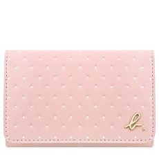 agnes b. 圓點皮革證件名片短夾-粉紅色