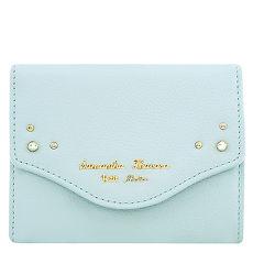 Samantha Thavasa 鉚釘皮革證件名片短夾-粉藍色