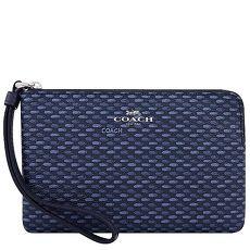 COACH PVC織紋圖樣手拿包-海軍藍色