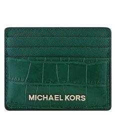 MICHAEL KORS Jet Set Travel 鱷魚紋牛皮證件名片夾-綠色