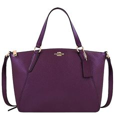 COACH 光澤皮革手提/斜背兩用包-小型(紫色)