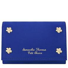 Samantha Thavasa 花朵鉚釘皮革證件名片短夾-藍色