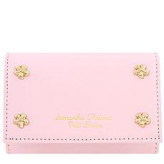 Samantha Thavasa 花朵鉚釘皮革證件名片短夾-粉紅色