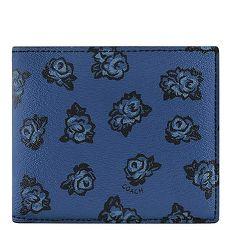 COACH 花朵圖樣PVC雙摺中夾(深藍色)