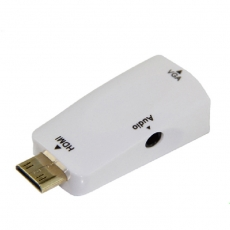 Bravo-u HDMI(公) to VGA(母) 白色鍍金轉接頭