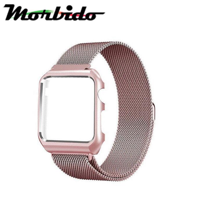 (APP活動)Morbido蒙彼多Apple Watch 42mm米蘭式磁吸不鏽鋼錶帶銀