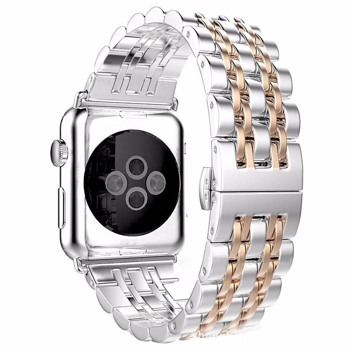 (APP活動)Apple Watch 不鏽鋼七珠蝶扣錶帶-贈拆錶器(42mm)銀