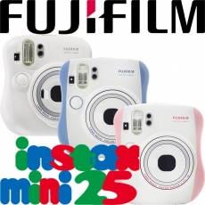 Fujifilm instax mini 25 拍立得相機(公司貨1年保固)贈底片30張電充相本水晶殼!