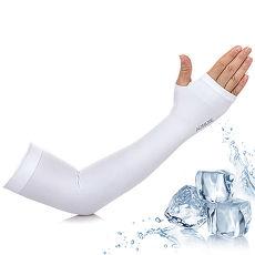 活力揚邑》指孔涼感萊卡袖套防曬UPF50抗UV防蚊吸濕排汗自行車路跑登山臂套-溫和白