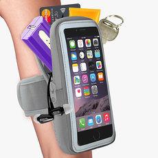 活力揚邑》防水透氣排汗反光跑步自行車手機觸控雙層運動臂包臂套臂袋-5.7吋以下通用X灰色
