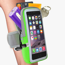 活力揚邑》防水透氣排汗反光跑步自行車手機觸控雙層運動臂包臂套臂袋-5.7吋以下通用X綠色