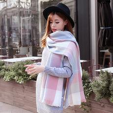 幸福揚邑》英倫粉藍格子圍巾羊絨質感超大加厚長版披肩