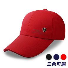 【活力揚邑】防曬防紫外線防風戶外運動透氣鴨舌帽盾形F刺繡棒球帽-藍、黑、紅紅