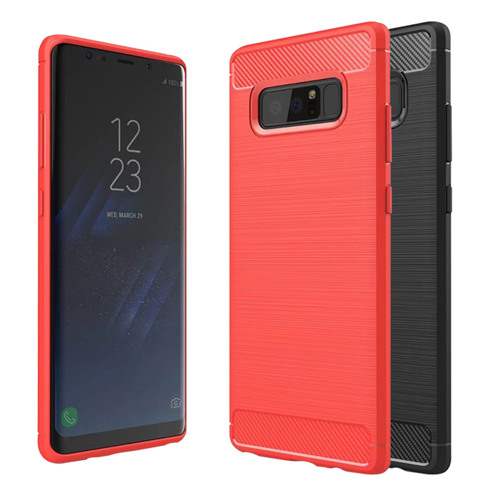 YANG YI 揚邑》Samsung Galaxy Note8 6.3吋 碳纖維拉絲紋軟殼散熱防震抗摔手機殼黑