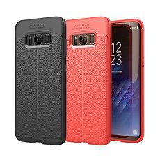 YANG YI 揚邑》Samsung Galaxy S8 Plus 6.2吋 碳纖維皮革紋軟殼散熱防震抗摔手機殼黑