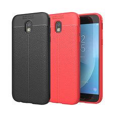 YANG YI 揚邑》Samsung Galaxy J3 Pro 5吋 碳纖維皮革紋軟殼散熱防震抗摔手機殼黑