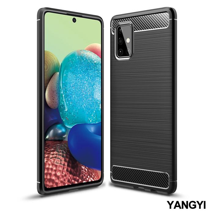 YANGYI揚邑》SAMSUNG Galaxy A71 5G 碳纖維拉絲紋軟殼散熱防震抗摔手機殼-黑