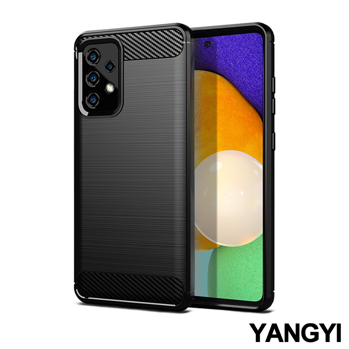 YANGYI揚邑》SAMSUNG Galaxy A52 5G 碳纖維拉絲紋軟殼散熱防震抗摔手機殼-黑