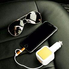 金德恩 蘋果、安卓二合一車用伸縮充電器 可伸長至85cm白