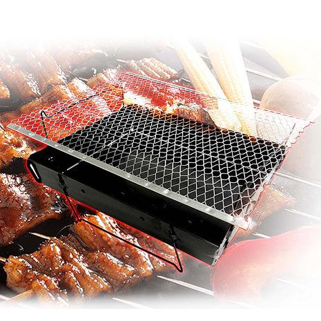 金德恩 台灣製造 4組專利產品折疊拋棄式烤肉爐/燒烤/中秋節/露營/烤肉