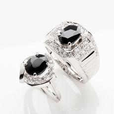 【雅紅珠寶】鸞鳳和鳴天然2克拉+2克拉黑藍寶對戒-活圍設計