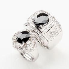 【雅紅珠寶】愛的誓言天然3克拉+2克拉黑藍寶對戒-活圍設計