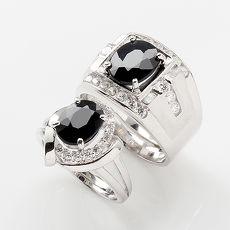【雅紅珠寶】才貌雙全天然3克拉+2克拉黑藍寶對戒-活圍設計