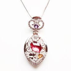 (預購)【雅紅珠寶】落英繽紛天然碧璽墜子-925純銀飾