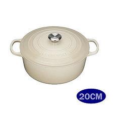 LE CREUSET 鑄鐵圓鍋 20cm   大耳 奶油白  鋼頭 ~APP