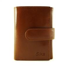 Sika - 義大利時尚真皮三折小皮夾A8280-01 - 原味褐