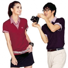 【LEIDOOE】76111 深紫搭配線條假兩件男款短袖POLO衫