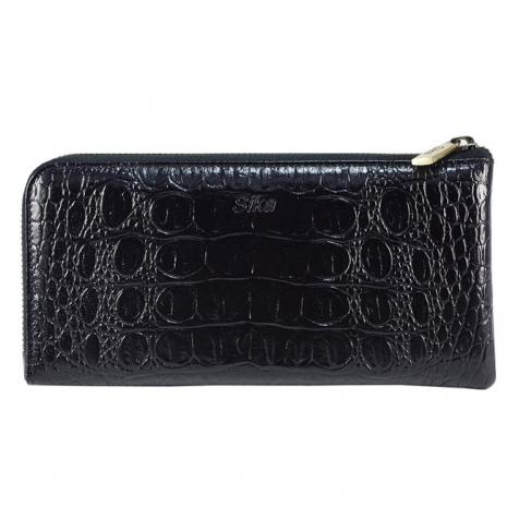 SIKA義大利時尚牛皮壓鱷魚紋拉鍊長夾S8299-03質感黑+ 贈鑰匙環