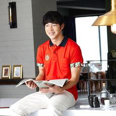 【LEIDOOE】迷彩袖經典休閒男款短袖POLO衫-紅16552