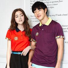 【LEIDOOE】迷彩袖經典休閒女款短袖POLO衫-紅16652