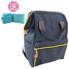 【買一送一組贈品】Longer大口徑日系學院風後背包 可手提 時尚潮流 好搭配J-1730+T-015B