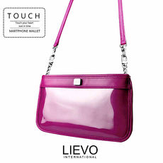 LIEVO Smartphone真皮兩用隨身包iPhone6 Plus / Note 4 / Xperia Z2 / 5.7 吋螢幕以下手機皆適用)亮紫紅CT01-DV