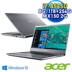ACER宏碁 SWIFT 3 SF314-56G-74AE 14吋輕薄雙碟效能筆電 金屬銀  (I7-8565U / 8G DDR4 / 256GB PCIe SSD+1TB / MX150-2G /Win10/IPS  )
