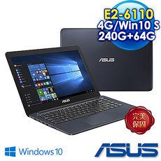【升級特仕版】ASUS華碩 L402WA-0082BE26110 14吋文書雙碟筆電 紳士藍 (AMD四核心E2-6110/4G/64G +240G SSD/Win 10 S/) 送筆電包、滑鼠