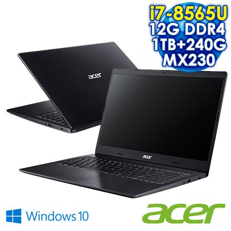 ACER宏碁 Aspire 3 A315-55G-72BG 15吋筆電 黑 ( I7-8565U /12G DDR4/1TB +240G/MX230 2G /FHD / Win10/買ACER送冰霸杯+電競鼠墊)